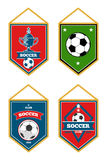 Soccer pennants set isolated white. Football flag emblem, vector illustration Stock Photography