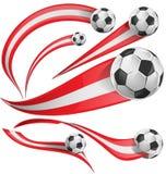 Soccer peru flag set. Peru flag set whit soccer ball Royalty Free Stock Photos
