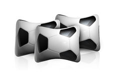 Soccer Pillows. Three Soccer ball pillows placed on a white background Stock Image