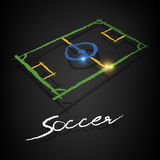 Soccer pitch drawing on a blackboard. Soccer pitch chalk drawing with copy on a blackboard Royalty Free Stock Photo