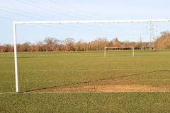 Soccer pitch with goalposts. Royalty Free Stock Photos
