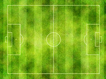 Soccer pitch. Overhead view of soccer or football pitch with textured green grass in stripes Royalty Free Stock Image