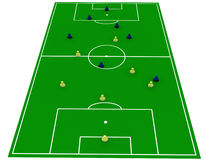 Soccer pitch with players Stock Photo