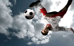 Soccer player 10. A soccer player and ball Stock Photography