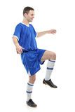 Soccer player. Isolated against white background royalty free stock photo