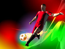 Soccer player. Kicking the ball. Image include hand-drawn vector clipping path for remove background Royalty Free Stock Photography