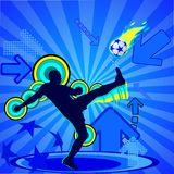 Soccer player. Silhouette and ball on the blue abstract background,  illustration Royalty Free Stock Photography