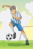 Soccer player. A  illustration of a soccer player running and kicking a ball Stock Photos