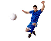 Soccer Player. Male soccer player. Studio shot over white Stock Images