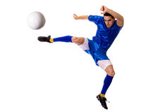 Soccer Player. Male soccer player. Studio shot over white Royalty Free Stock Photo