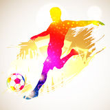 Soccer Player. Silhouette Soccer Player and Fans on grunge background, vector illustration Royalty Free Stock Photography