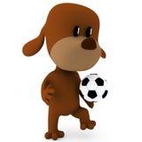 Soccer player. Little soccer player dog on white - 3D render Stock Photos
