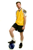 Soccer Player. A male soccer player. Studio shot over white stock photo