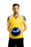 Soccer Player. A male soccer player. Studio shot over white stock photography