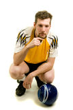 Soccer Player. A male soccer player. Studio shot over white royalty free stock photo