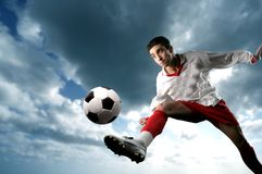 Soccer player. A young soccer player in action Royalty Free Stock Photos