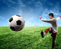 Soccer player. A soccer player in the stadium Stock Image