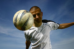 Soccer player #7. A football player in action Stock Photo