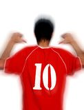 Soccer player. In red t-shirt with number ten Stock Image