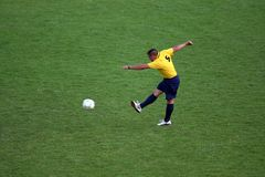 Soccer player. Man playing soccer on grass royalty free stock photo