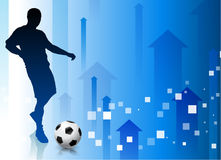Soccer Player with Abstract Arrow Background Royalty Free Stock Image
