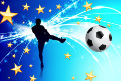 Soccer Player on Abstract Blue Light Background Stock Photo