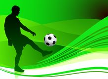 Soccer Player on Abstract Green Background Royalty Free Stock Photography