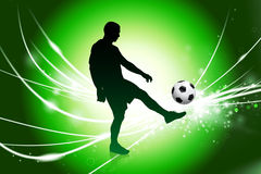 Soccer Player on Abstract Green Light Background Stock Photography