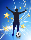 Soccer Player on Abstract Modern Light Background Stock Images