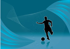 Soccer player abstract vector. Soccer player on abstract wave background Royalty Free Stock Photography