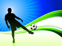 Soccer Player on Abstract Wave Background Stock Images