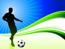 Soccer Player on Abstract Wave Background Royalty Free Stock Photos