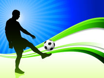 Soccer Player on Abstract Wave Background Stock Photos