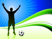 Soccer Player on Abstract Wave Background Stock Photography