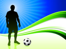 Soccer Player on Abstract Wave Background Stock Image