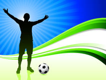 Soccer Player on Abstract Wave Background Royalty Free Stock Image