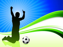 Soccer Player on Abstract Wave Background Stock Photo