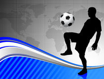 Soccer Player on Abstract World Map Background Royalty Free Stock Image
