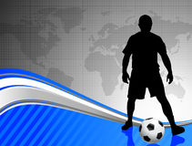 Soccer Player on Abstract World Map Background Royalty Free Stock Photos