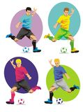 Soccer player in action. Soccer players running with the ball, ready to shoot at the goal Stock Illustration