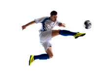 Soccer player in action. Football soccer player in action isolated white background stock photos