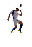 Soccer player in action. Football soccer player in action  isolated white background Royalty Free Stock Images