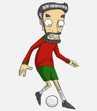 Soccer player action kick the ball. Cartoon vector and illustration Royalty Free Stock Photography