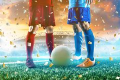 Soccer player in action kick ball at stadium. royalty free stock photo