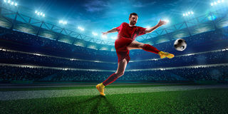 Soccer player in action panorama Royalty Free Stock Images