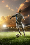 Soccer player in action on sunset stadium background Stock Image