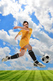 Soccer Player in Action. Young soccer player in action outdoors Stock Photos