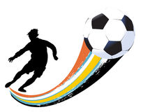 Soccer player and ball Stock Photos
