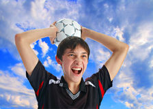 Soccer player with ball Stock Photos
