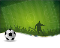 Soccer player with ball. Abstract green yeallow vector background with football player Royalty Free Stock Images